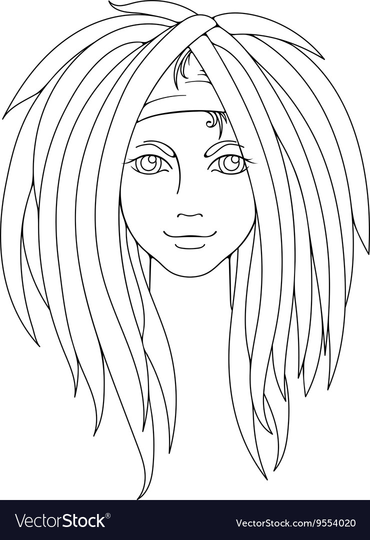 Young girl with dreadlocks Picture for coloring Vector Image