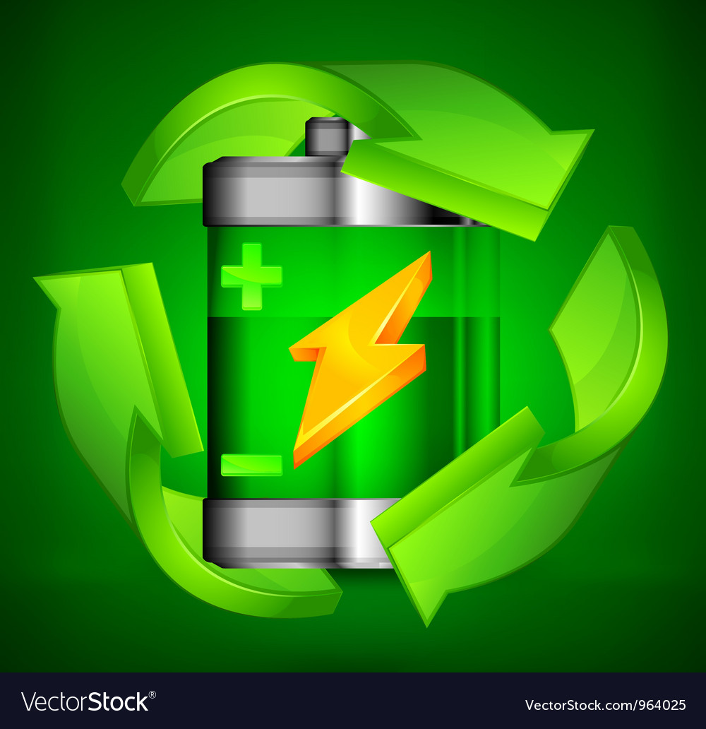 Battery recycling three arrows green background 10 vector image