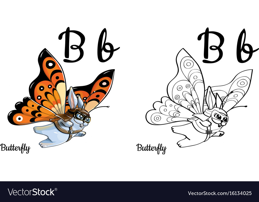 Butterfly Alphabet Letter B Coloring Page Vector Image