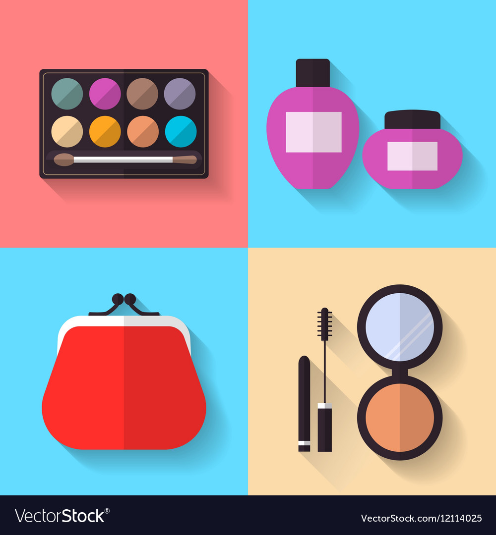 Cosmetic and Makeup flat Icons Set vector image
