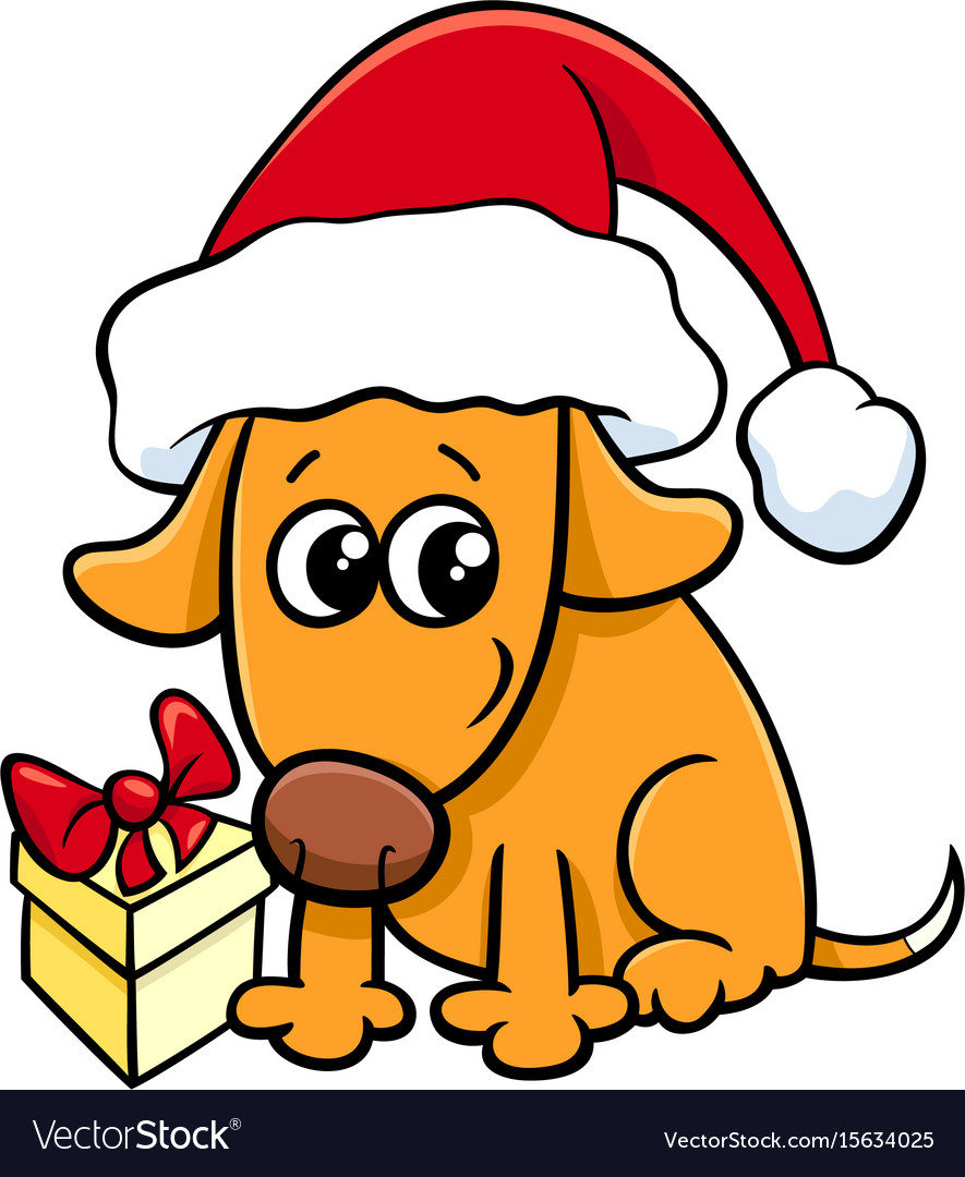 Cute dog on christmas cartoon vector image