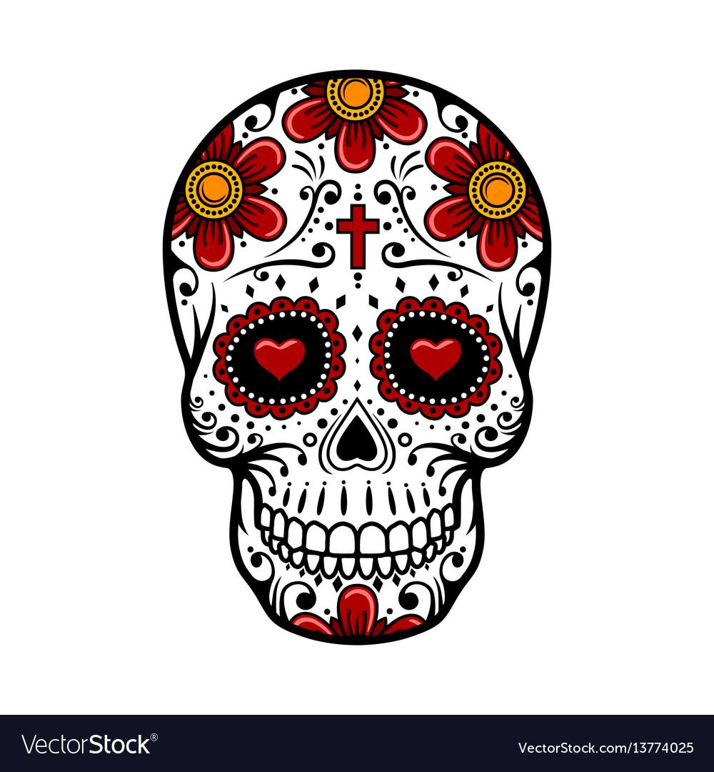 Day of the dead skull sugar flower tattoo