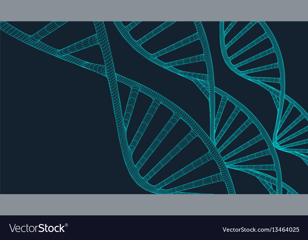 Grey dna with polygon line on blue background