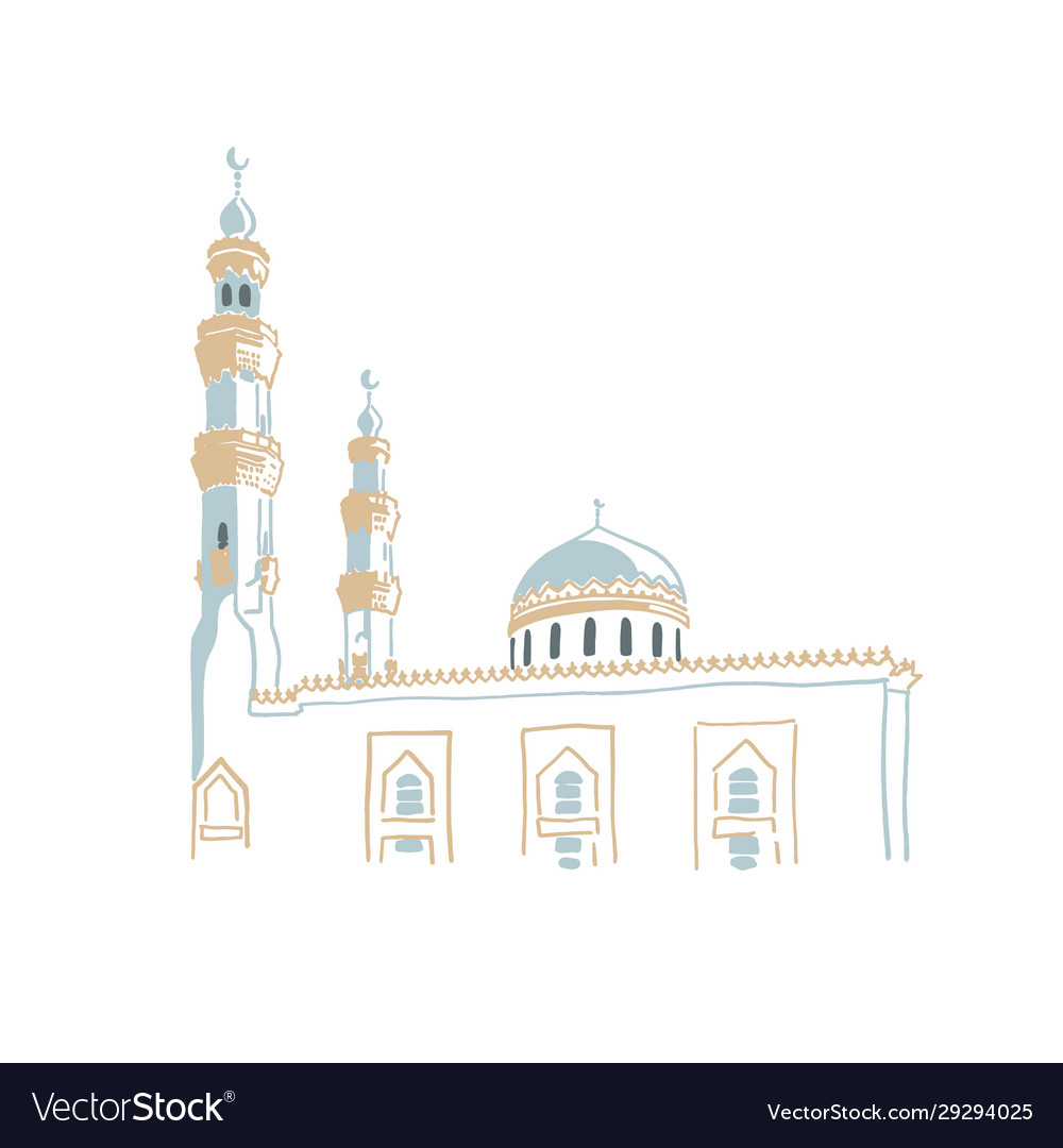 Hand drawing sketch mosque in dubai united