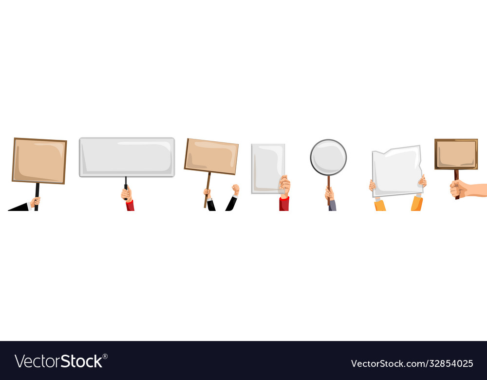 Hands holding placards isolated activist person