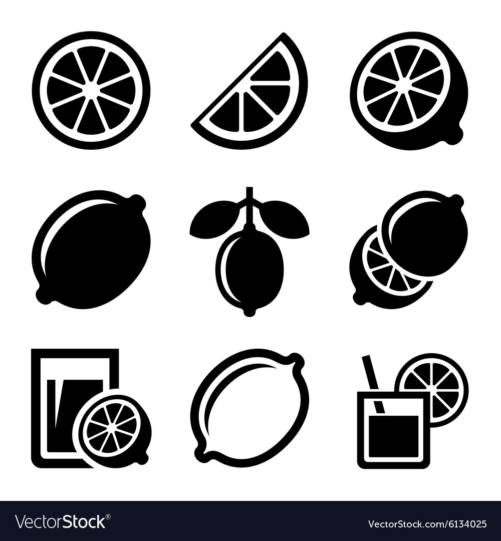 Lemon and Lime Icons Set vector image