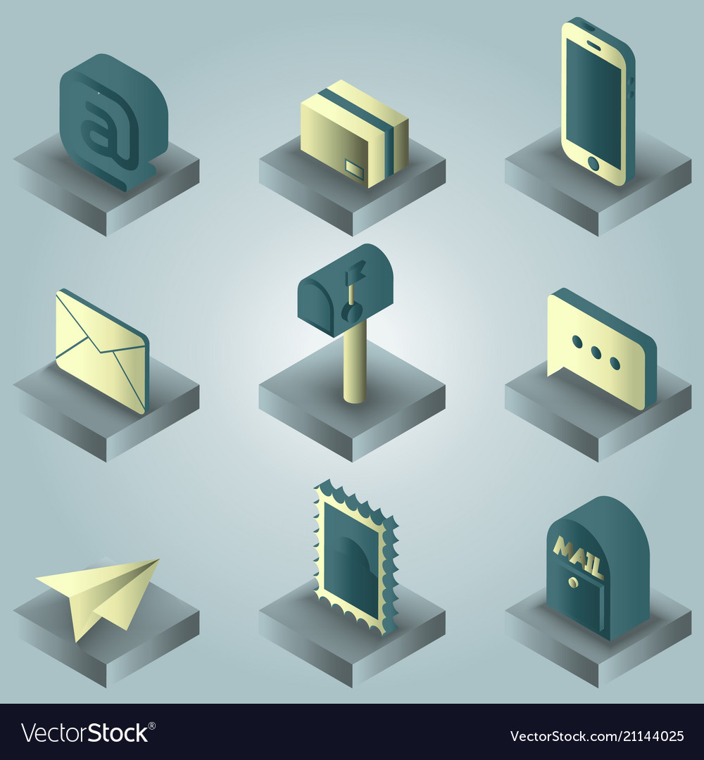 Mail color gradient isometric icons