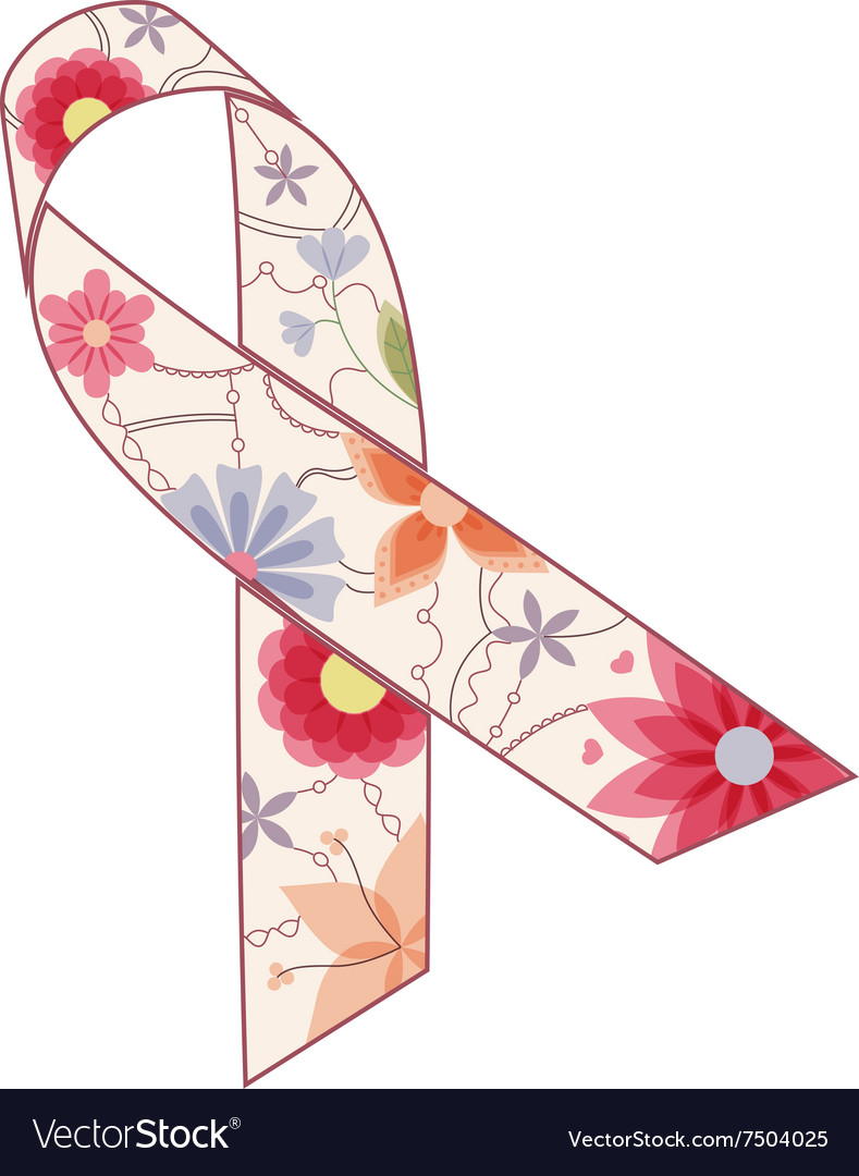 Pink ribbon painted silhouette vintage