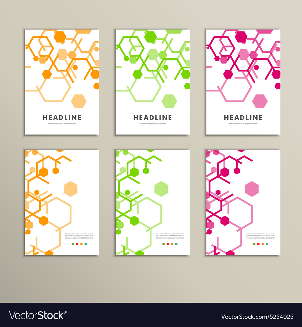 Set of six book covers the background hexagons