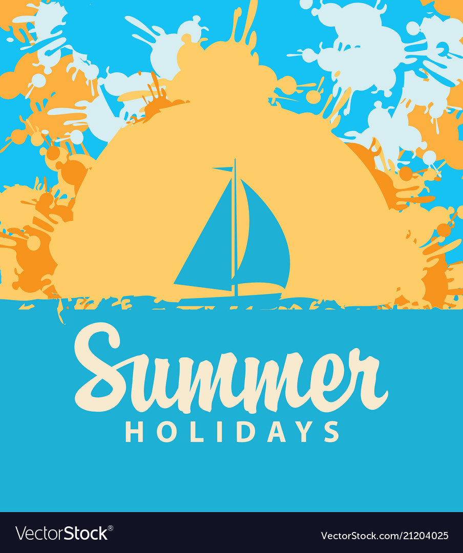 Summer travel banner with color spots and sailboat
