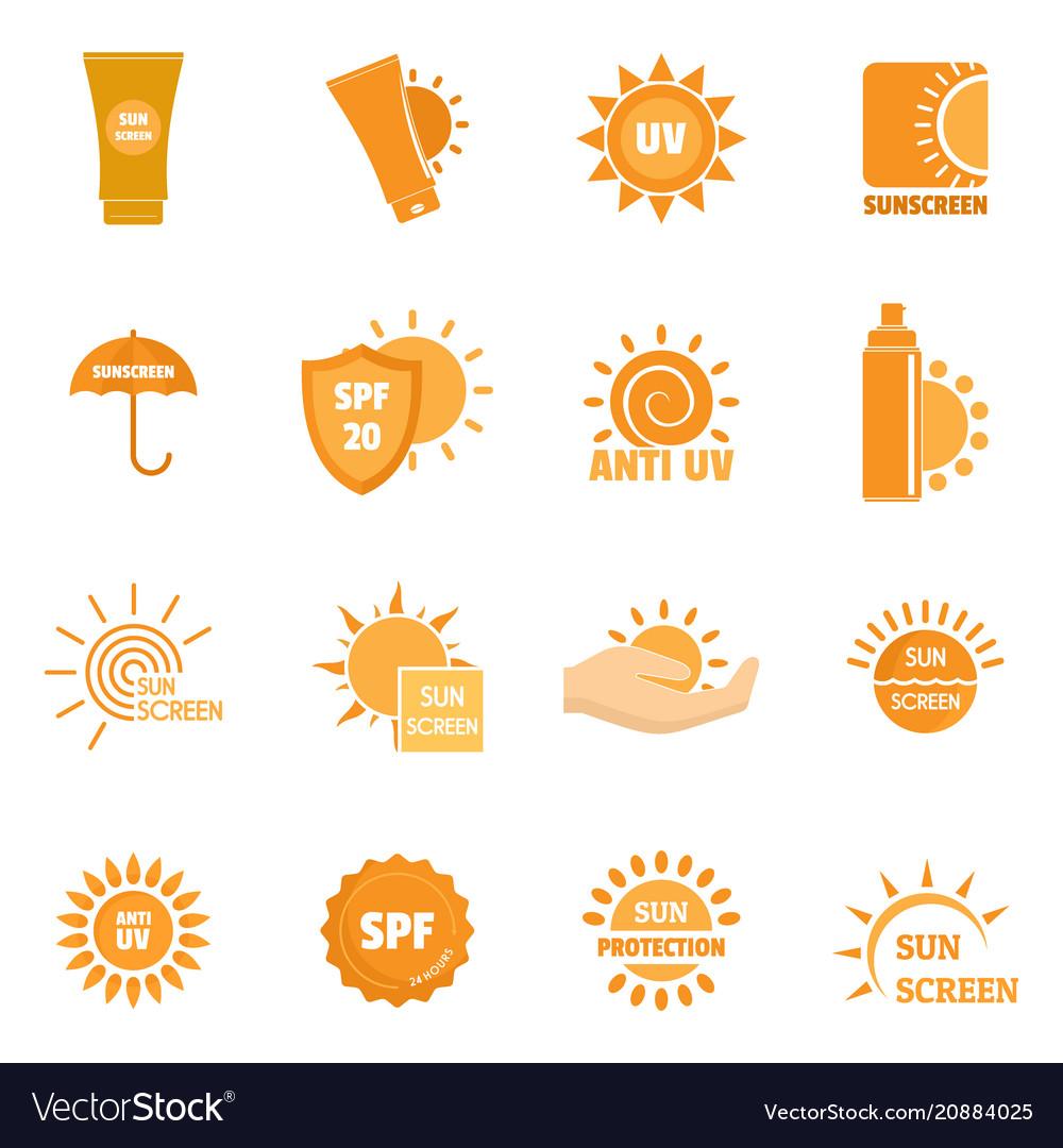 Sunscreen sun protect logo icons set flat style