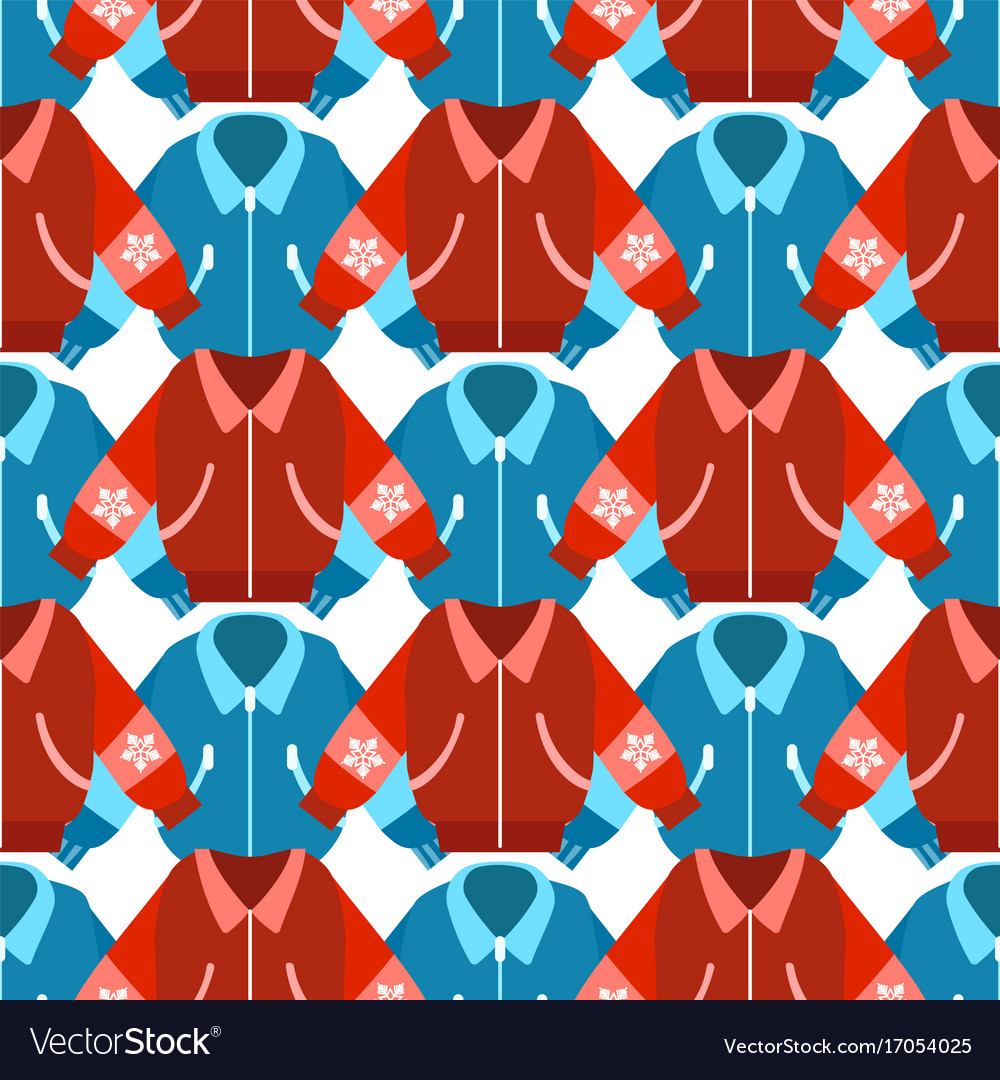 Winter sport jackets seamless pattern