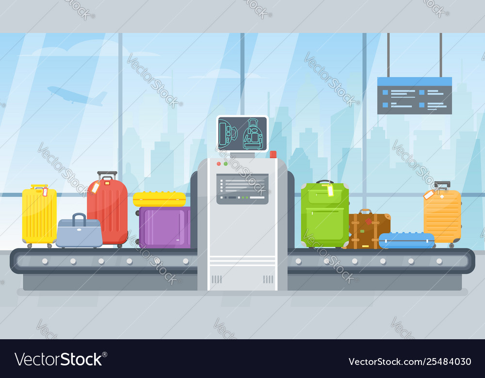 Airport luggage scanner and conveyor belt