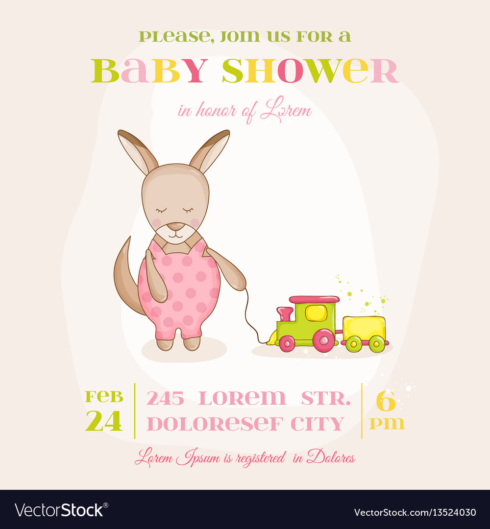 Baby girl kangaroo with a train - baby shower card