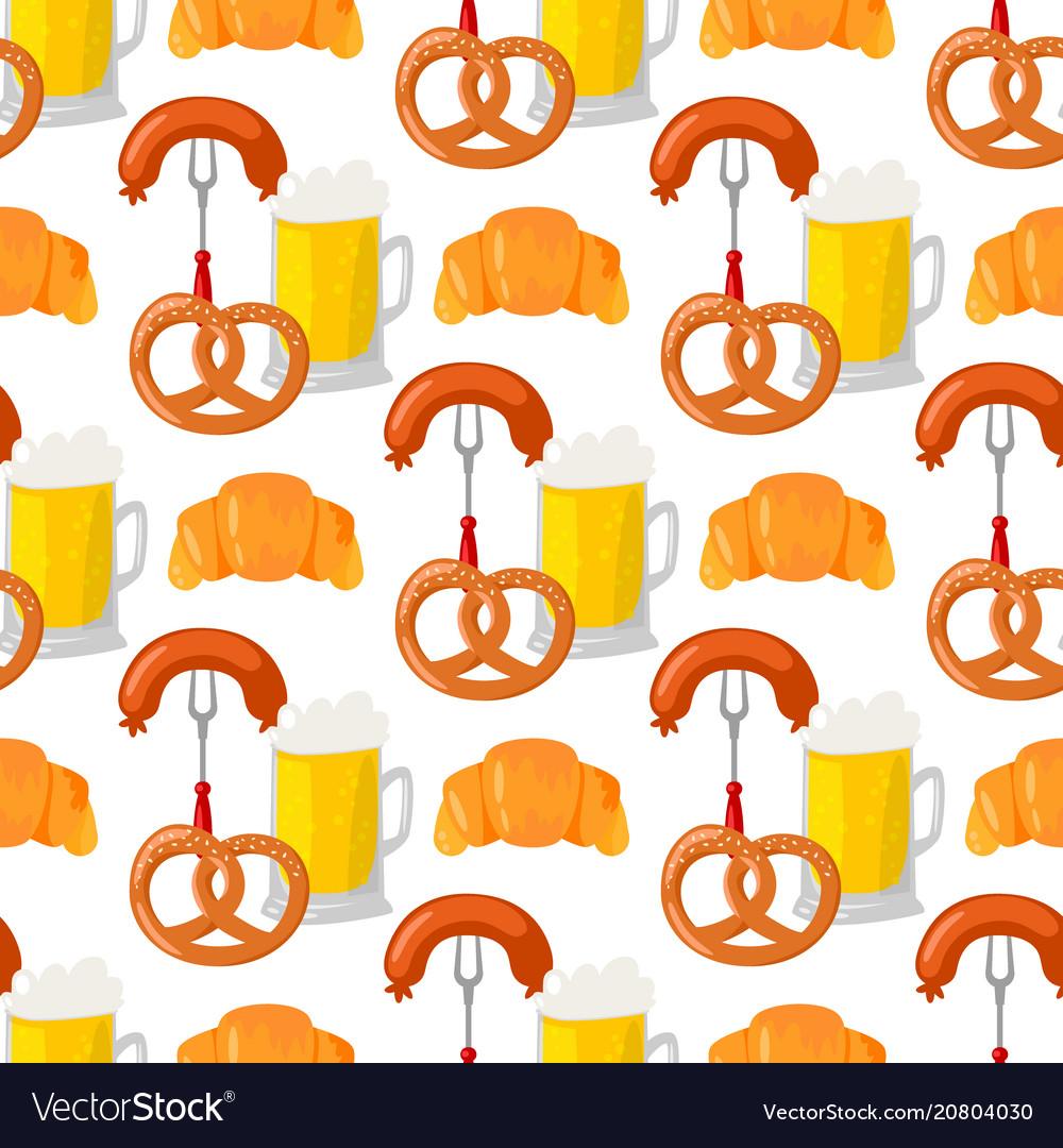Beer glass pretzel seamless pattern