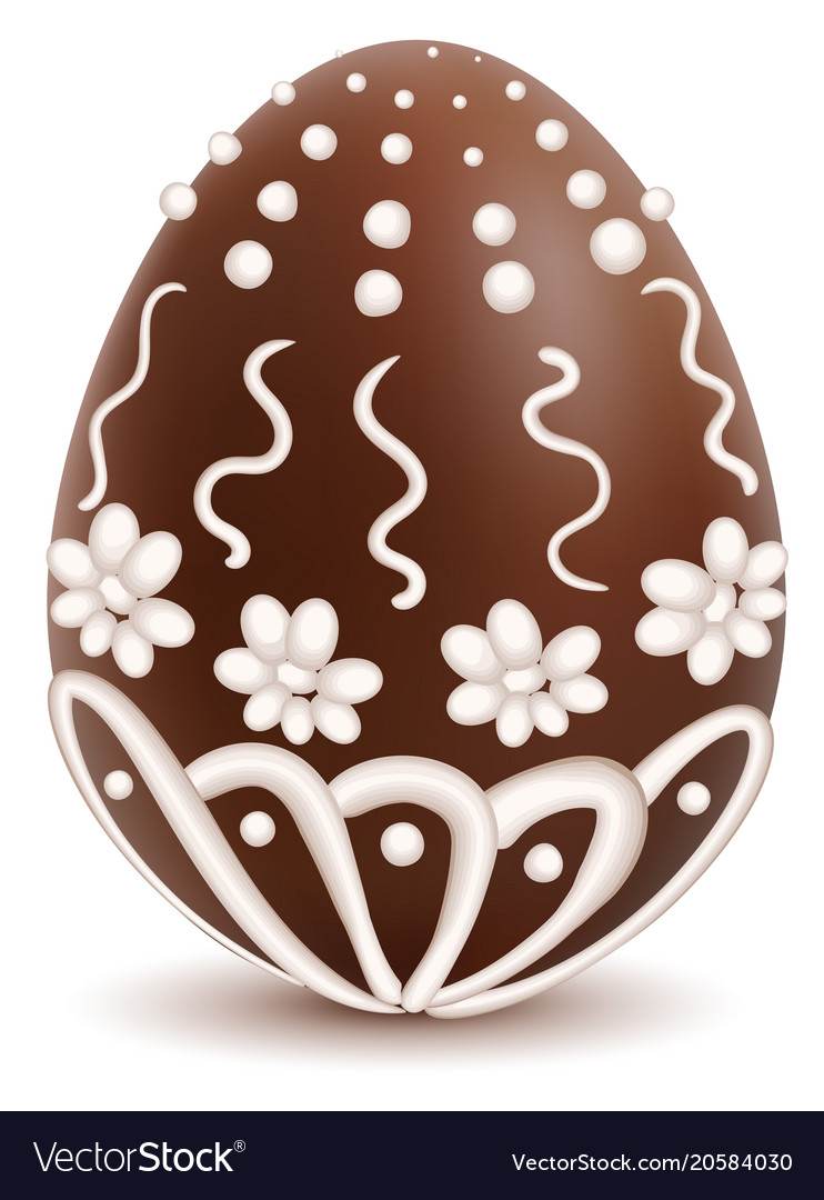 Chocolate sweet decorated with white icing egg vector image
