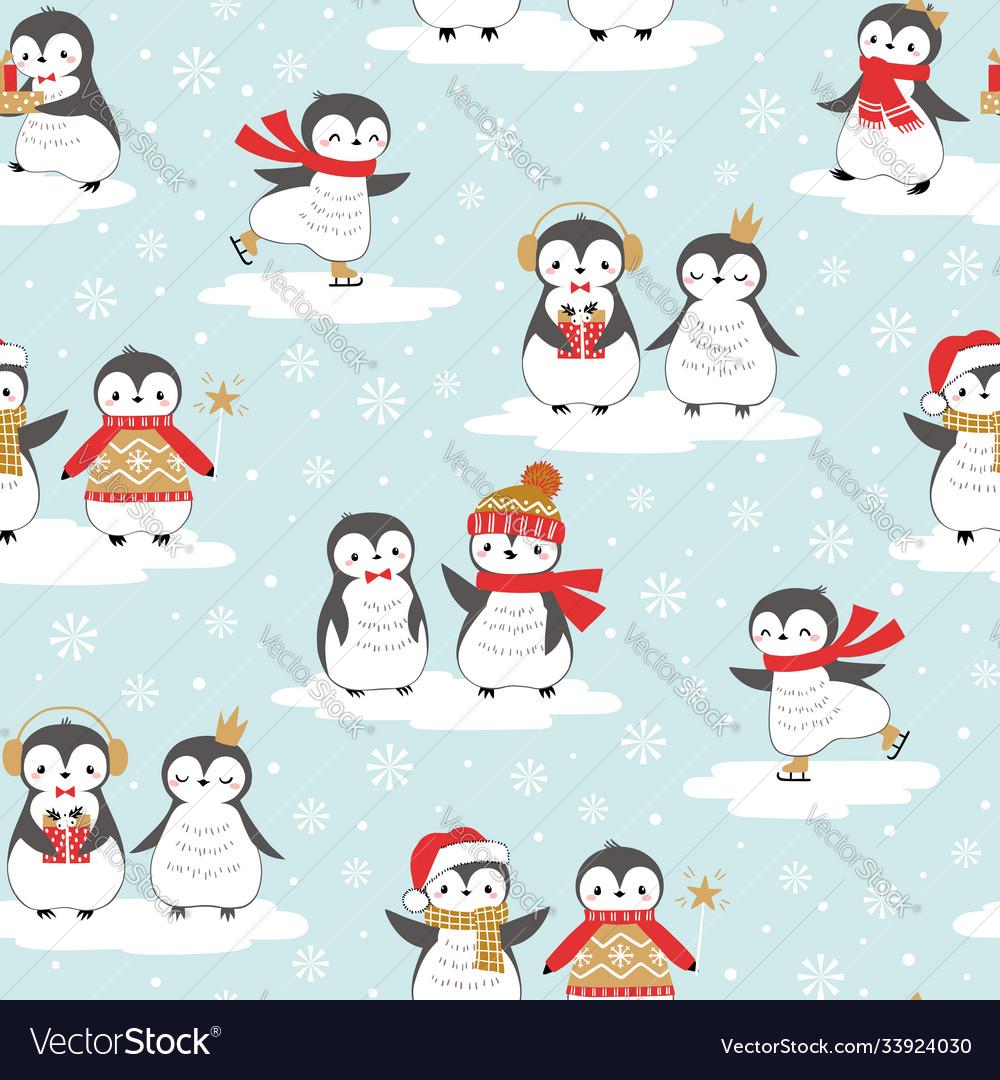 Christmas sweet little penguin pattern
