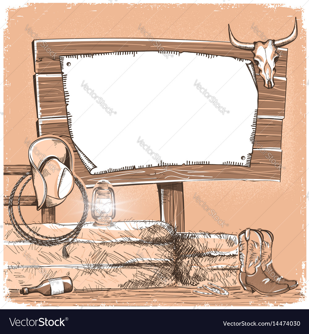 Cowboy background with wood board for text vector image