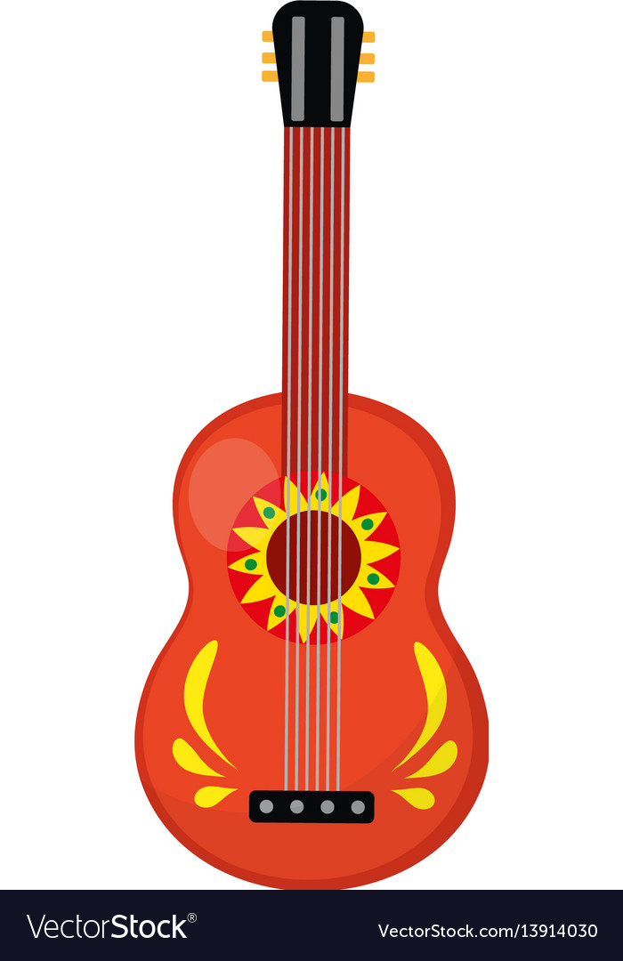 Cuatro guitar icon flat style mexican musical vector image