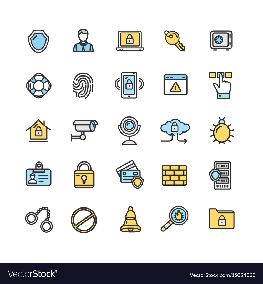 Data security and safe icon color thin line set vector image