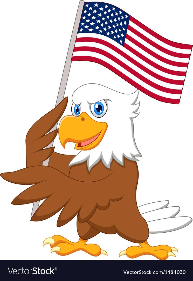 Eagle cartoon holding American flag vector image