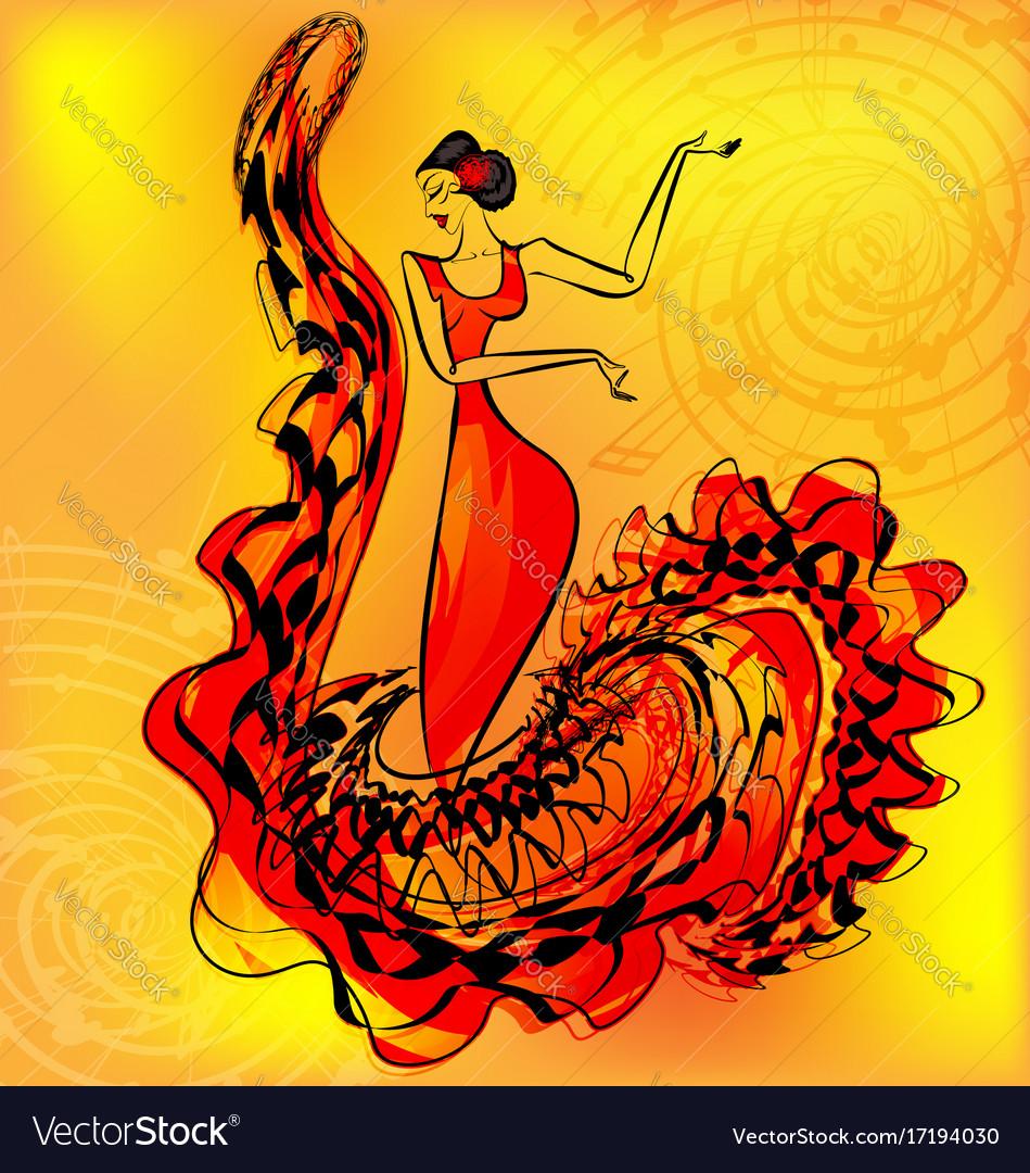 Figure of flamenco dancer and music