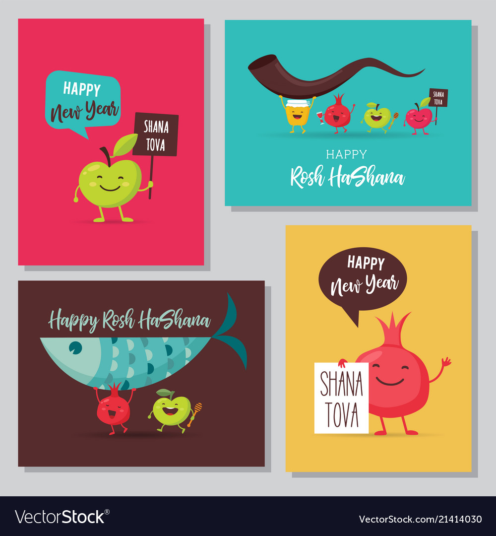 Greeting cards with funny cartoon characters for vector image m4hsunfo