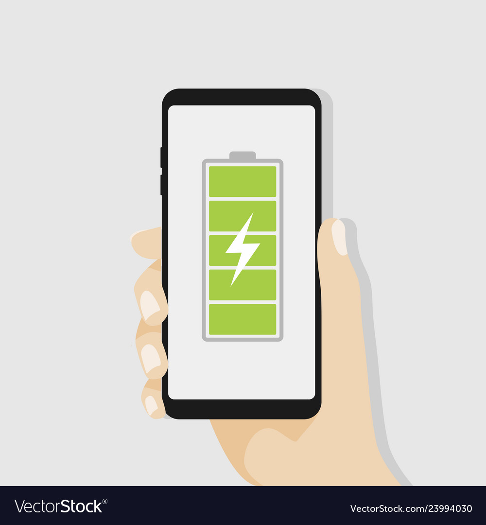 Hand holding smartphone with full battery