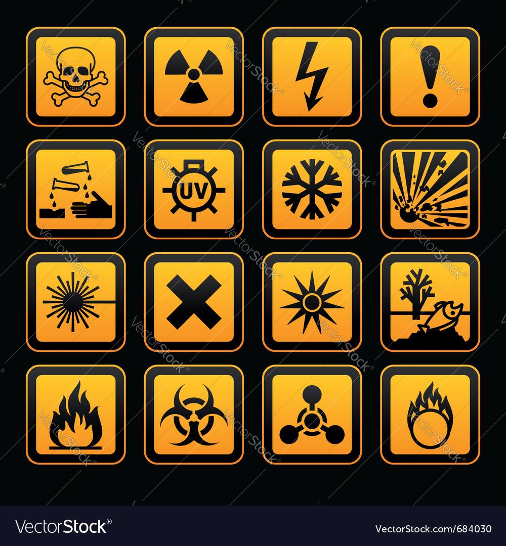 Hazard Symbols Orange S Sign On Black Background Vector Image