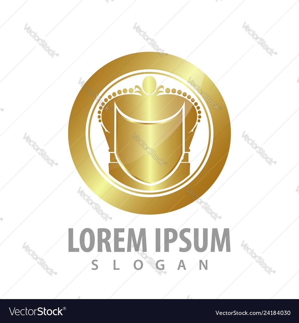 Luxury shield circle crown logo concept design