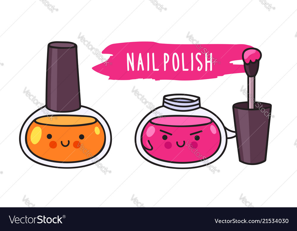 Nail polish cute cartoon doodle character Vector Image