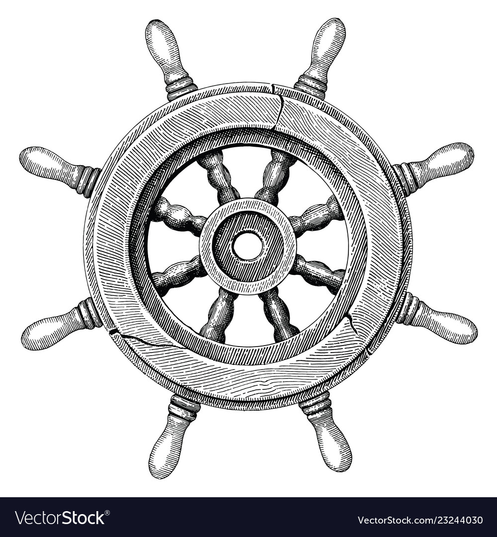 Old Steering Wheel Ship Hand Drawing Vintage Style