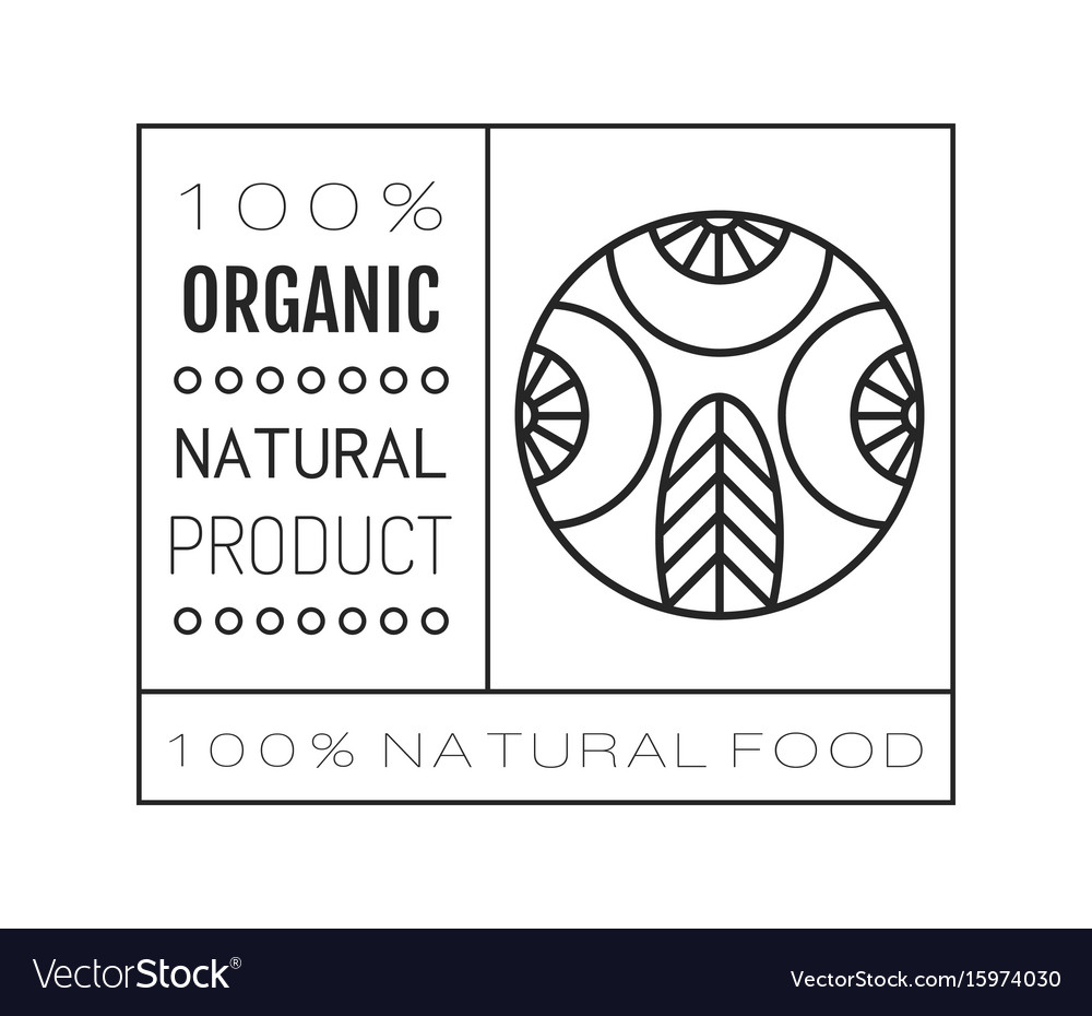 Organic food logo badge and label for healthy vector image