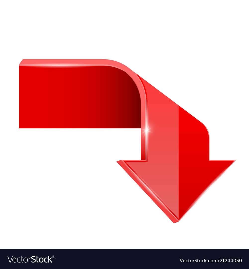 Red bent arrow down 3d symbol Royalty Free Vector Image