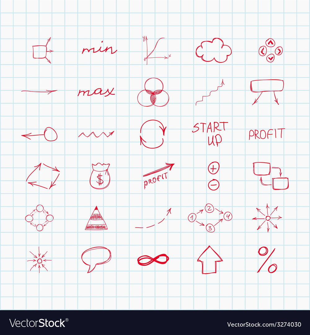 Set Of Simple Hand Drawn Signs And Symbols Sketch Vector Image