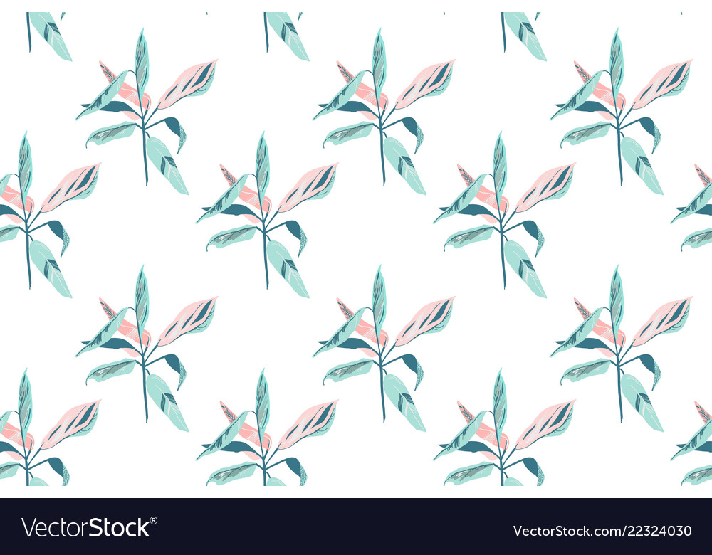 Trendy hand drawing seamless leaf pattern