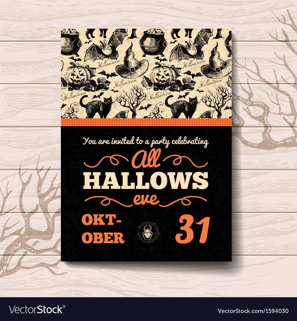 Vintage hand drawn Halloween invitation
