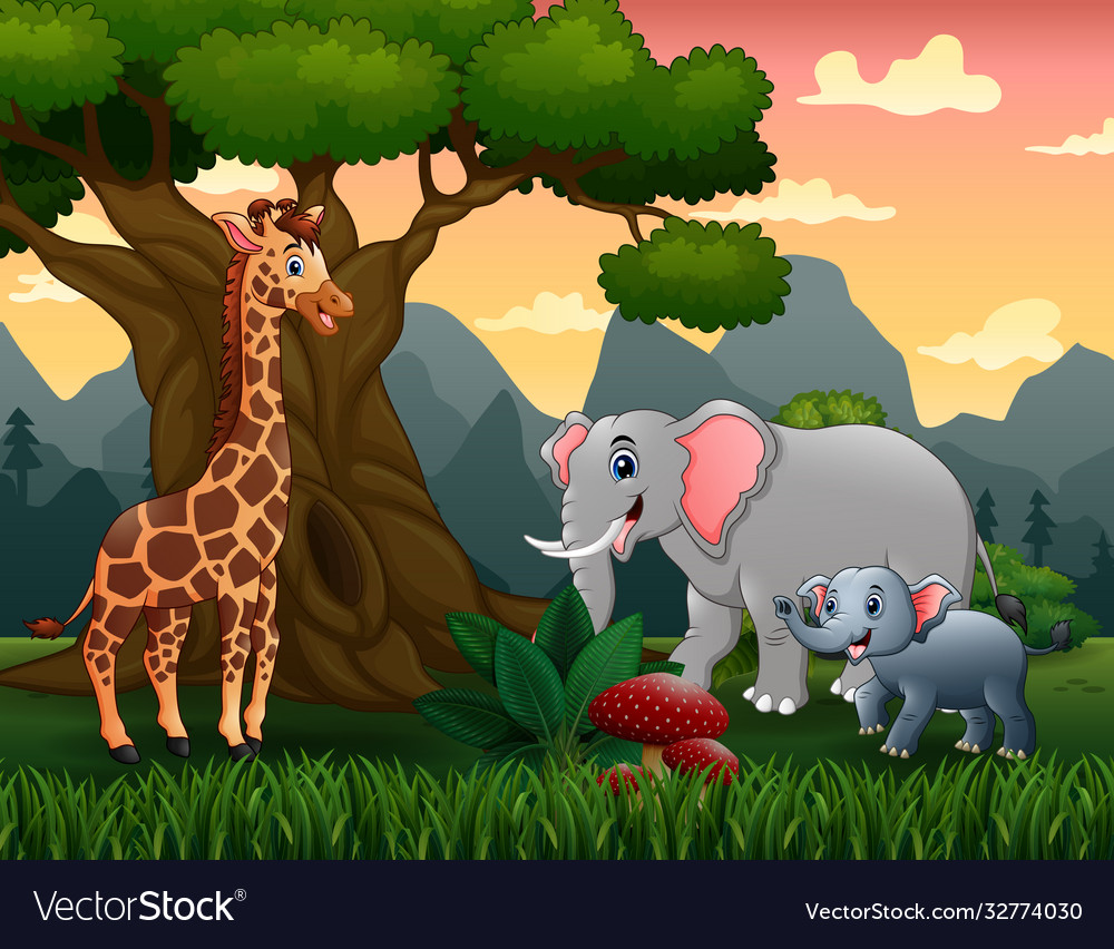 Wild animals cartoon under big tree