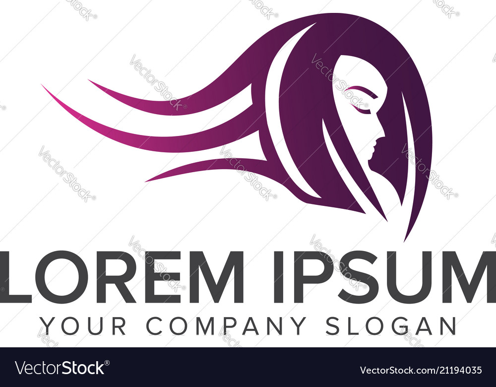 Beauty hair woman logo design concept template