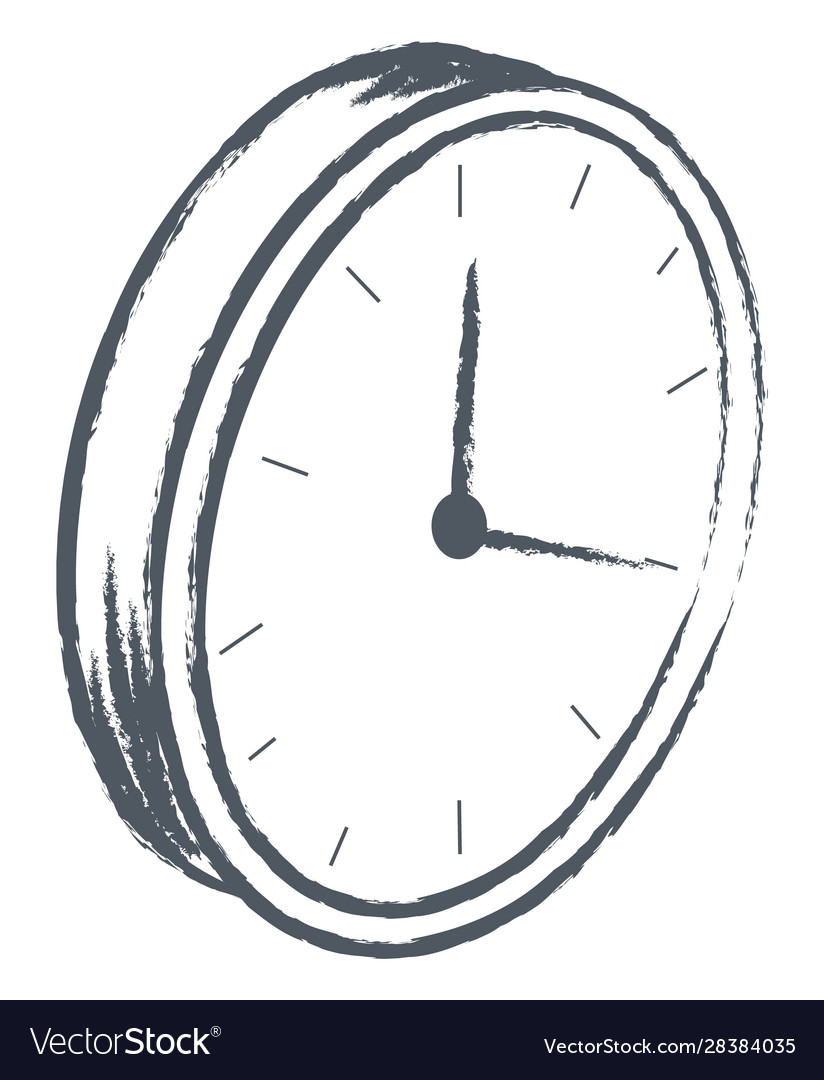 Clock showing time monochrome sketch outline