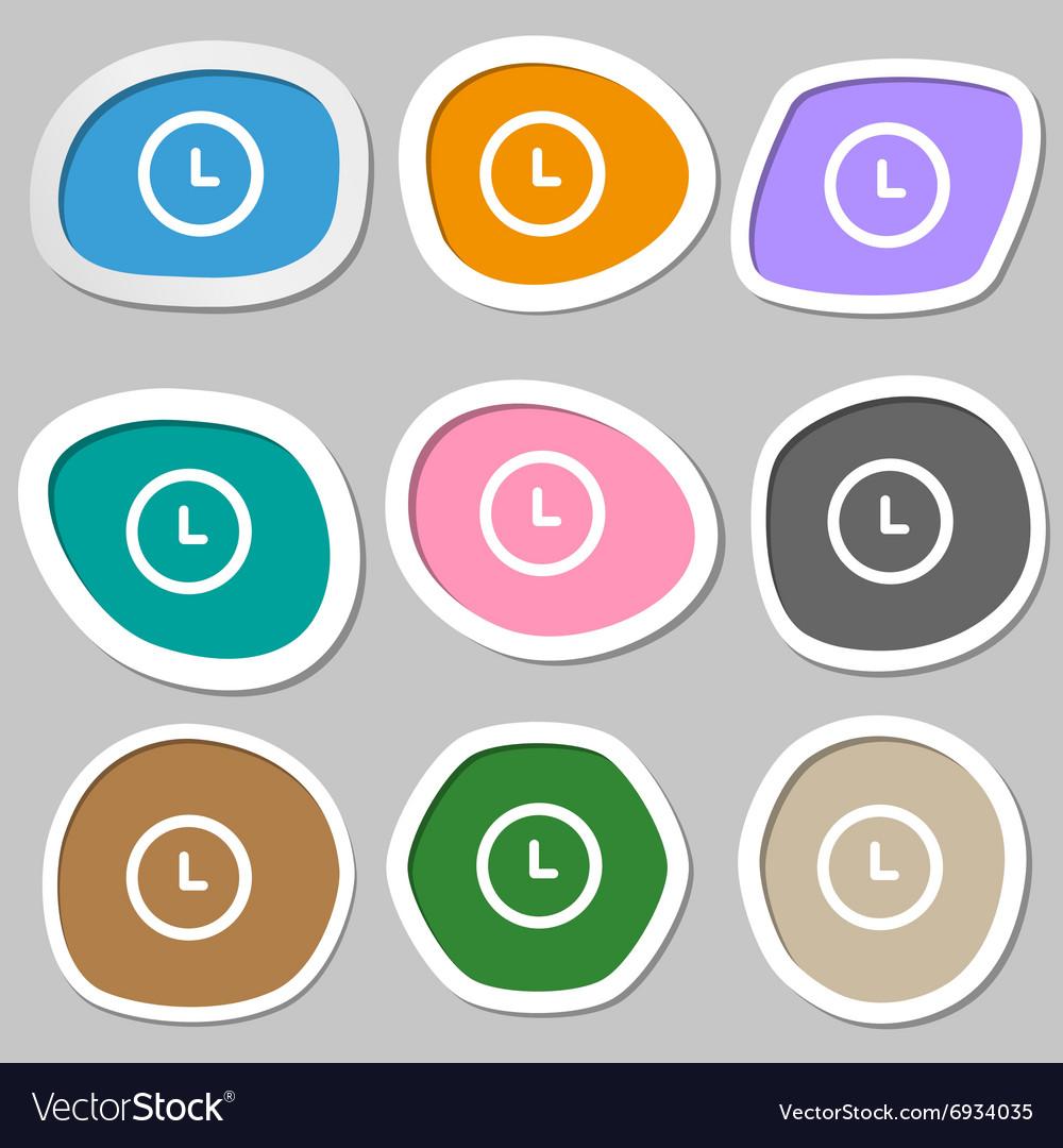 Clock symbols Multicolored paper stickers