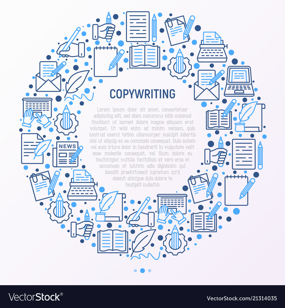 Copywriting concept in circle with thin line icons