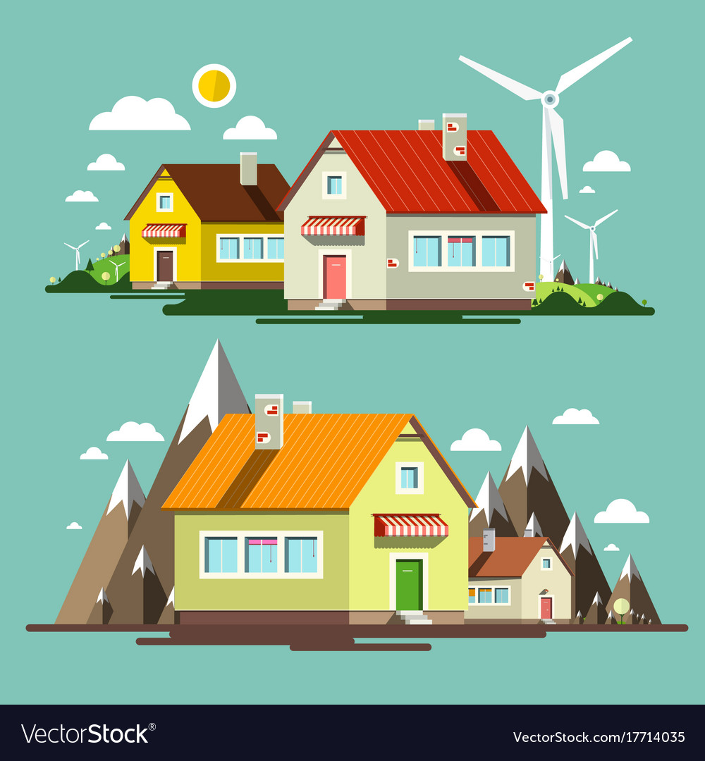 Flat design nature scene with houses and wind