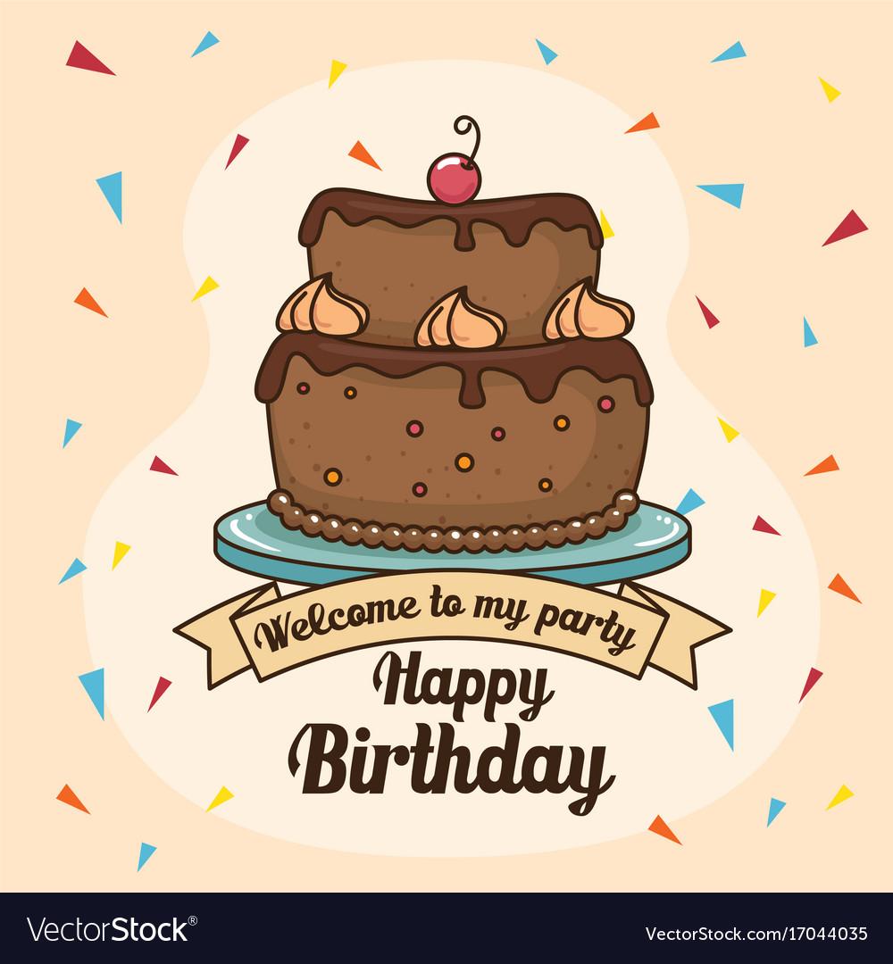 Happy Birthday Cake Design Royalty Free Vector Image