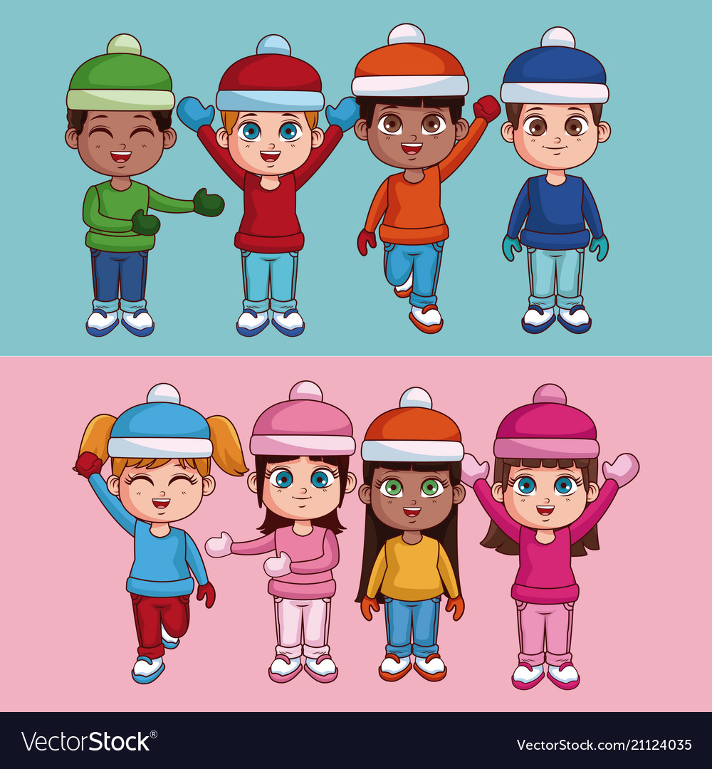 7865e2cee3936 Kids with winter clothes Royalty Free Vector Image