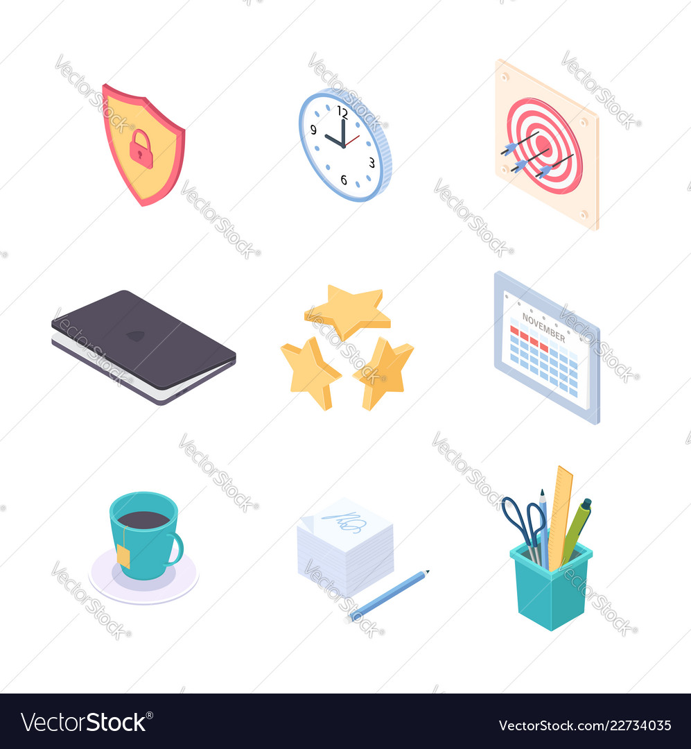 Office supplies - modern colorful isometric