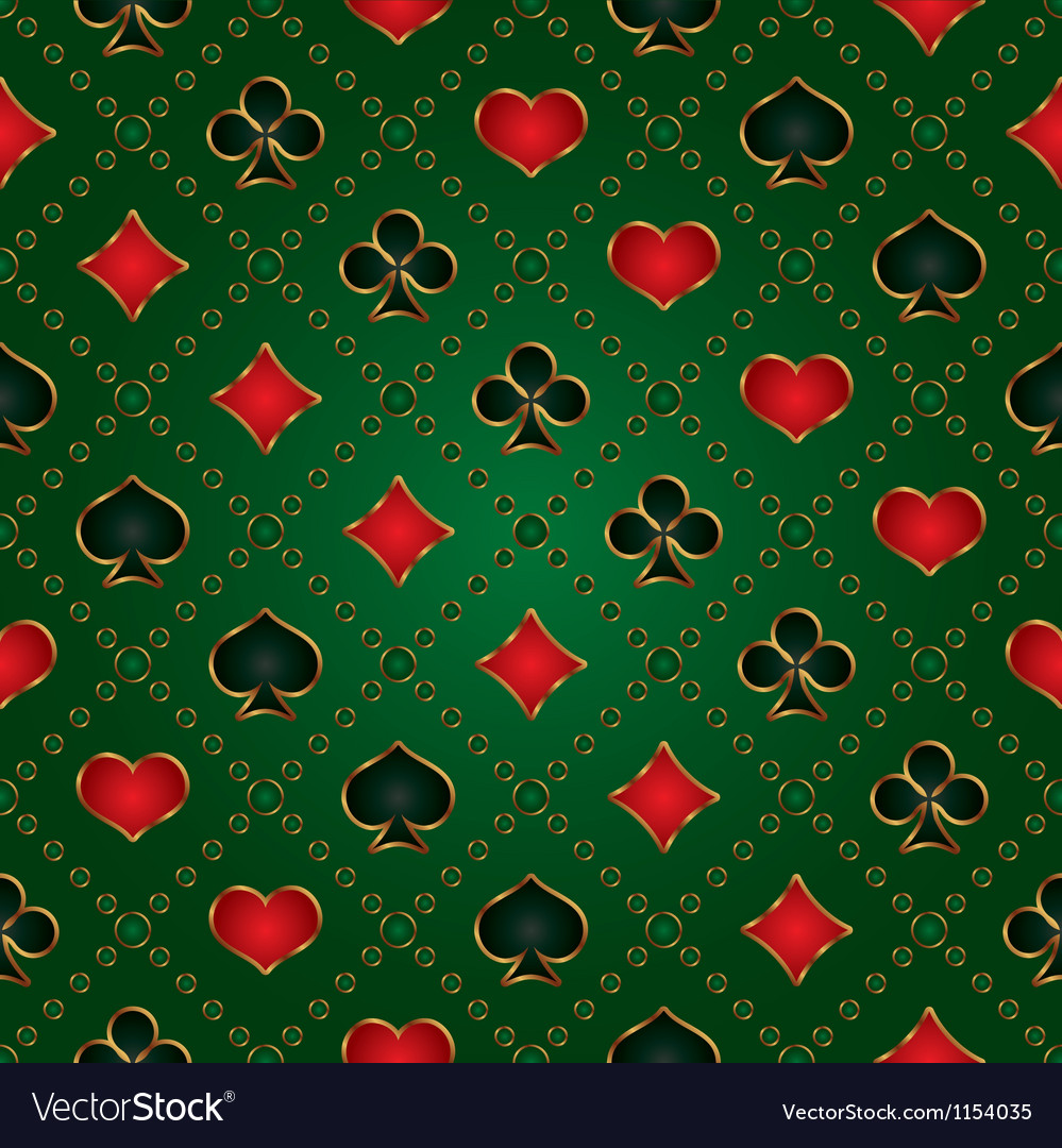 Seamless green background with card suits vector image