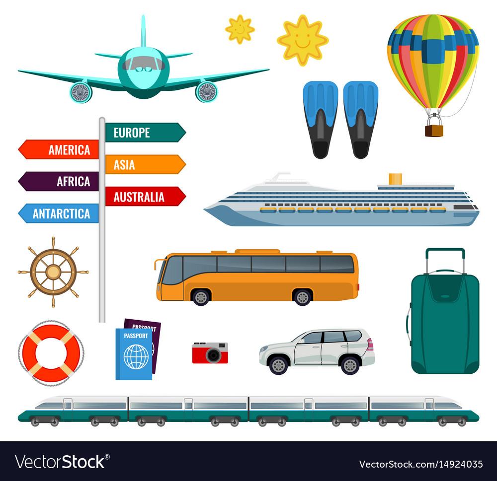Set of summer holidays transport items