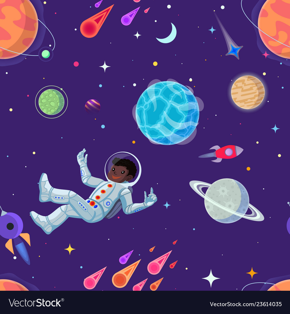 Spaceman at open space floating in antigravity vector image