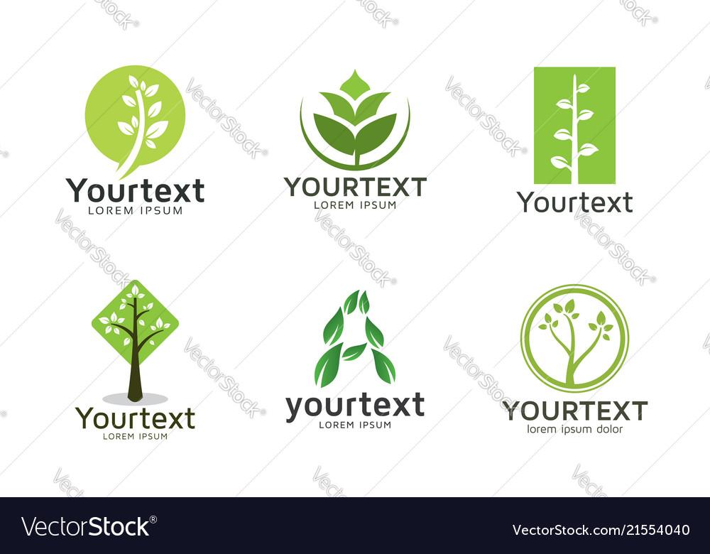 Collection green logos or icons design